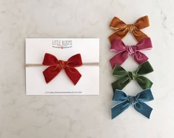 Velvet Bow - nylon headband or hair clip