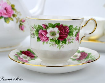 Queen Anne Vintage Teacup And Saucer Set with Pink and White Flowers, Wedding gift, Mother's Day, c. 1959-1966