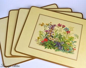 Set of 4 Pimpernel Place Mats in Original Box, Four Traditional Place Mats Meadow Flowers Pattern, Hostess Gift,  ca. 1950