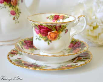 Royal Albert Teacup and Saucer Old Country Roses Trio 3 piece Set, English Bone China, Replacement China, ca 1960-1970