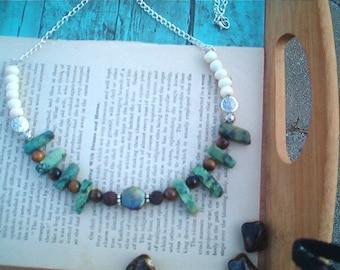 GODDESS Necklace, Green Agate Gemstone Necklace, Bone, Tiger's Eye, Festive, Earthy, Boho Necklace, Hippie, Mother Earth, Artisan, Statement