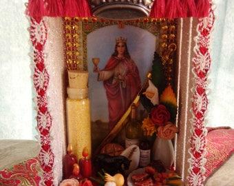 Saint Barbara Chango Xango Small Box Shrine.  Shadow Box. Travel Altar.