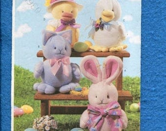 15% OFF SALE Butterick 3802 Sweet Cuddly Spring Stuffed Animals Pattern  UNCUT
