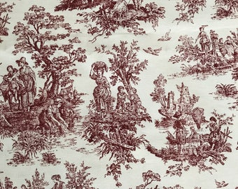 "Vintage Toile Fabric...2 pieces, each 26"" x 59"""