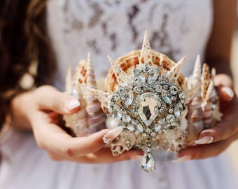Bridal Crown - Mermaid Crown - Shell Crown - Festival Crown - Bridal Headpiece - Mermaid Costume.