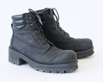 Vintage 90's Women's Black Laced Leather Ankle Boots UK 6.5 EU 40 US 8.5