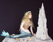 Mermaid on Beach With Sand Castle OOAK Hand Sculpted Art Doll Collectable