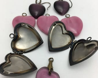 Heart lockets Glass Heart Charms Vintage Hearts Jewelry Lot heart lot