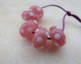 handmade lampwork glass beads, pink and white spots UK set