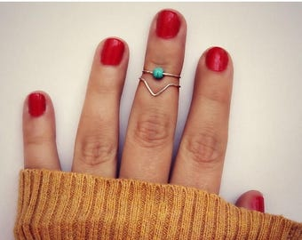 VACATION SALE sterling silver knuckle rings, midi rings, silver midi ringschevron knuckle rings, turquoise ring, stacking rings, ring set, c