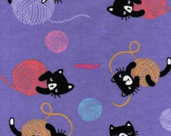 Snuggle Flannel Fabric - Kitties & Yarn - Sold by the Yard