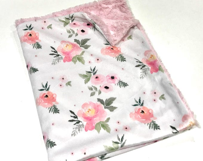 Featured listing image: Blush Watercolour Floral Roses Baby Girl Blanket. Baby Minky Blanket, Baby Shower Gift, Pink Minky Baby Blanket, Ready to Ship Baby Blanket