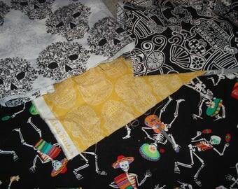 Day of the Dead Fabric Remnants: Dia de los Muertos fabric, Halloween, Skull fabric, Dancing Skeleton Fabric, November 2, fabric scraps