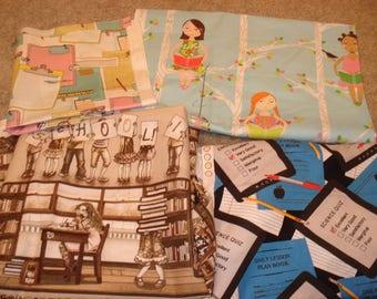 School Fabric, school-themed fabric, fabric remnants, fabric scraps, fabric leftovers, teacher fabric, classroom fabric, Love School fabric