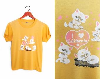 vintage t shirt / California t shirt / thin t shirt / 1980s yellow thin I love California kittens kawaii t shirt XS