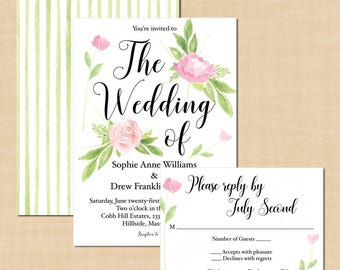 "Boho Floral Wedding  Invitation RSVP Package, Pink Peonies, Roses (Portrait, 5""x7""): Text-Editable in Word®, Printable Instant Download"