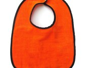 Quality Baby Bib | Orange Velour Cotton | Black Cotton Trim | Adjustable Two Snap Closure | Large Coverage | Sized For Infant to Toddler