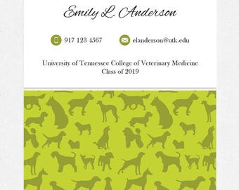 dog walker or veterinary student business cards - thick, color both sides - FREE UPS ground shipping