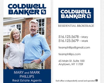 Coldwell Banker real estate business cards - thick, color both sides - FREE UPS ground shipping