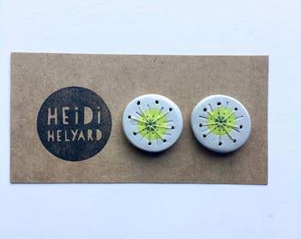 WEIRDLINGS polymer clay earrings studs green