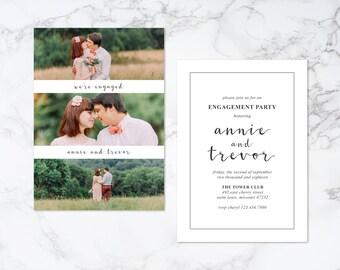 Printable Modern Photo Card Engagement Invitation