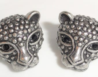 Panther Head Wild Cat Antiqued Silver Tone Metal Black Simulated Onyx Rhinestone Eye Figural Pierced Earrings