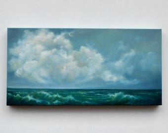 ON SALE Seascape painting, cloud painting, original oil painting, ocean painting, original art - Learning how to swim