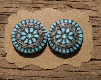 Large Turquoise Cluster Button Earrings - Turquoise Button Earrings - Fabric Button Earrings - Navajo Turquoise Earrings - Luxie Creations