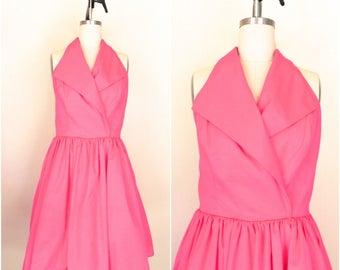 Vintage 1980s Susan Roselli Pink Halter Evening Dress