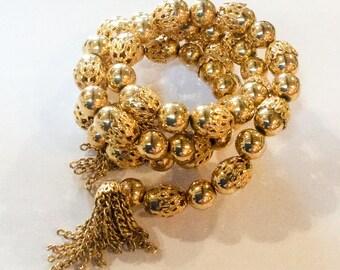 Memory Wire Bangle Bracelet, Tassel, Gold Bead, Vintage Jewelry SUMMER SALE