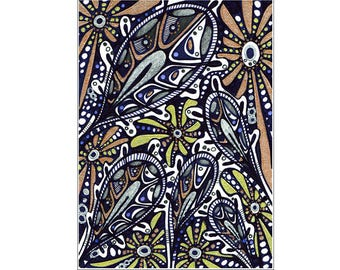 Original ACEO drawing, art nouveau style, ornamental floral stylization - ACEO XXVI