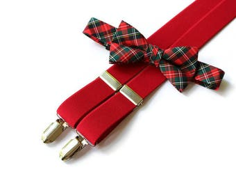 Boys Suspender and Bow Tie Set~Boys Tartan Bow Tie~Christmas Tie~Holiday Outfit~Boys Suspenders~Boys Bow Tie~Winter Wedding~Winter Pictures