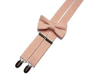 Boys Seersucker Suspenders~Orange Seersucker~Boys Suspenders~Wedding Suspenders~Wedding~Boys Seersucker Bow Tie~Boys Suspender Set