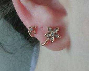 Rose gold ear climbers - Climber earrings - Rose gold earrings - Flower butterfly earrings - One pair - Minimalist jewelry