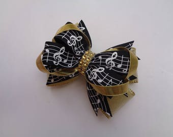 Music Notes Hair Bow, Black and Gold Hair Bow, Ballet Recital Gift, Musician Gift, Music Recital Gift