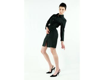 THIERRY MUGLER MTM Black Cotton Shirt Dress