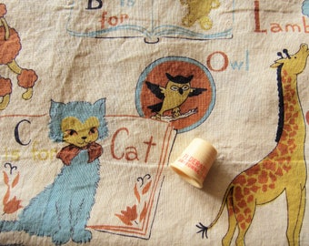 recycled juvenile print vintage cotton fabric -- 52 wide by 51 inches long