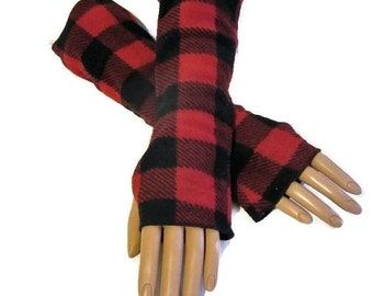 ON SALE Buffalo Check,Arm Warmers,Fingerless Gloves,Gloves,Buffalo Plaid,Lumberjack,Red,Black,Fleece,Gift For Her,Women,Handmade,Vintage Sty