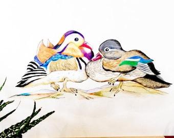Commission an ORIGINAL Mandarin Duck Couple drawing, similar to these mandarin ducks. Feng Shui's Symbol of Love, Loyalty & Friendship.