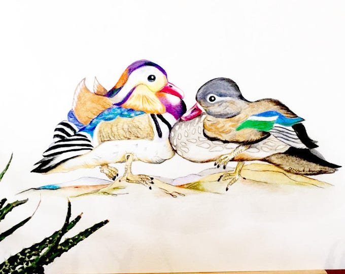 Commission an ORIGINAL Mandarin Duck Couple drawing, similar to these mandarin ducks. Feng Shui's Symbol of Love, Loyalty & Friendship.