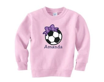 SALE Soccer Sweatshirt, Toddler Sweatshirt, Soccer Team Gift, Team Bow, Soccer Embroidery, Soccer Applique, Sports Gift, Team Soccer Shirt