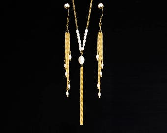 Gold plated pearls set, Natural off white pearls set, Ivory bridal earrings, Pearls wedding necklace, Gold bridal jewelry, Long earrings 835