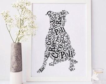 Pitbull Custom Silhouette Print, Your Dog's Name, Dog Lover Gift, Personalized Pit Bull Art, Dog Memorial, Rainbow Bridge Pet Remembrance