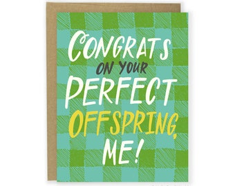 Perfect Offspring Card - Funny Father's Day Card, Funny Mother's Day Card, Funny Card, Thank You Card, Funny Parent Card, Congrats Card