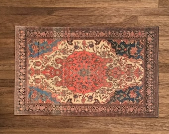 Dollhouse Miniature Tabriz Prayer Rug, Scale One Inch