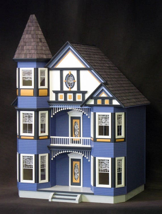Genevieve, The Great Painted Lady Victorian Wooden Dollhouse Kit WITH Electric Turntable, Treasury List, Scale One Inch