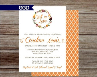 Fall Bridal Shower Invitation, orange bridal shower, fall in love invite, fall flower Invite, bridal shower invite- Printed or Digital Fi