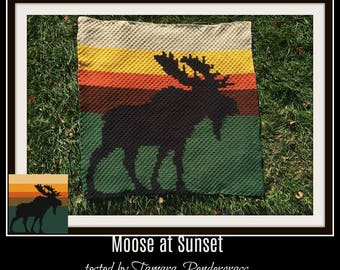 Moose at Sunset Afghan, C2C Graph, Crochet Pattern, Moose graph, Moose c2c graph, Moose afghan crochet pattern
