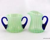 Fenton Glass Green Opalescent Rib Optic #2 Creamer and Sugar Set - ca 1920s