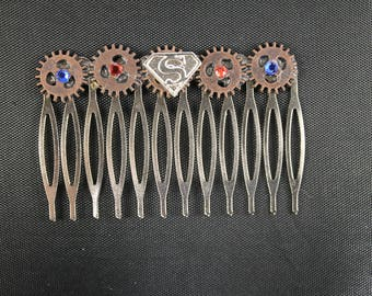 Supergirl Steampunk Hair Comb - Superman
